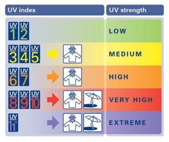 UV Index exposure risk